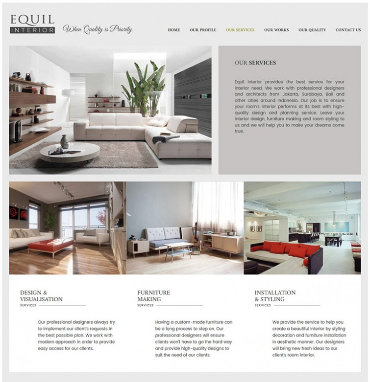 Web design development portfolio mark design for equil for Design interior surabaya